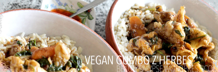 Easy fast and delicious VEGAN Gumbo Z'Herbes recipe with Baby Spinach and Baked Tofu