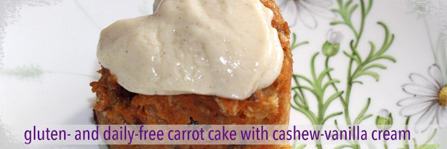 Gluten Dairy Free Vegan Mini Carrot Cake with Vegan Cashew Vanilla Cream