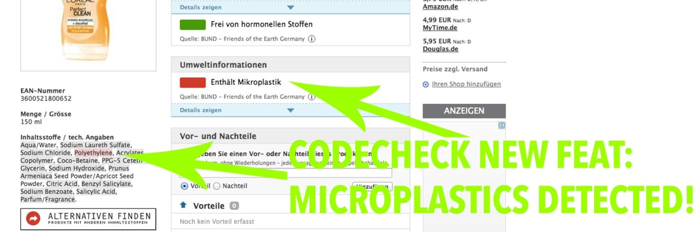 codecheck-new-feature-microplastics