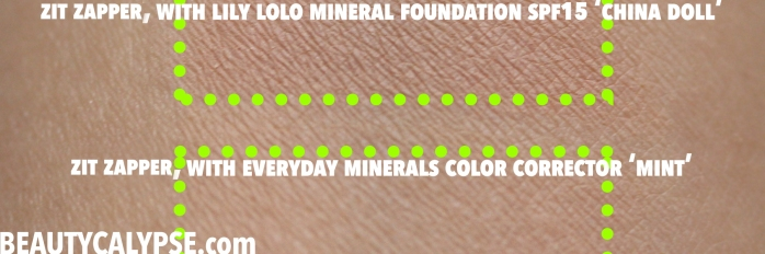 couleur-caramel-zit-zapper-review-swatch-with-lily-lolo-everyday-minerals-blended