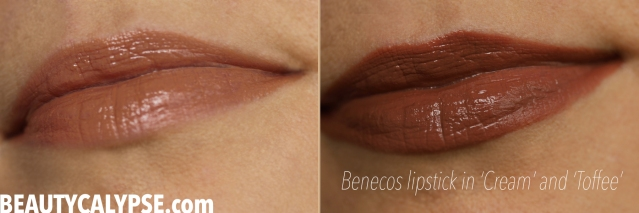 Benecos-lipstick-Cream-Toffee-swatch-worn