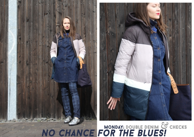 Double denim look by Feuervogl, ethical down coat by Ecoalf, upcycled city tote by Toshka, silver oxfords by Beyond Skin