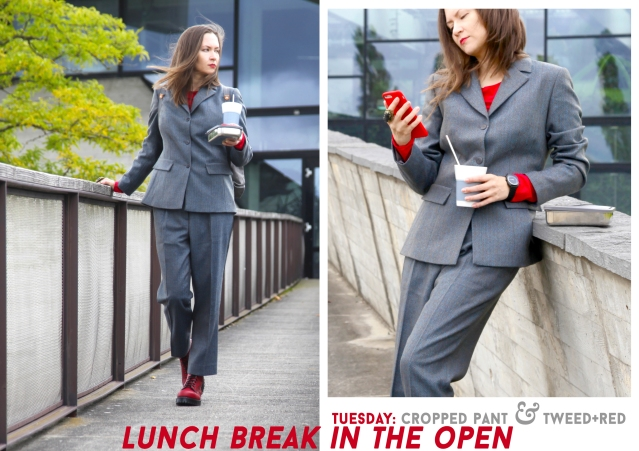 How to style red combat boots for business feat. Grüne Erde, Vegetarian Shoes, Wolford, SlowJo