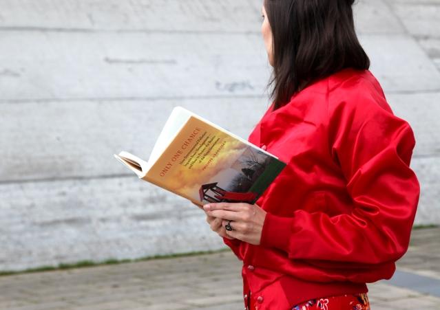 Red satin bomber jacket, red flower print dress Lenas Lovely Vintage