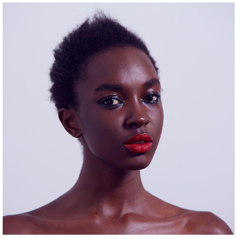 Model wearing Gressa Corrective Serum Foundation shade 8 Makeup by Nat van Zee