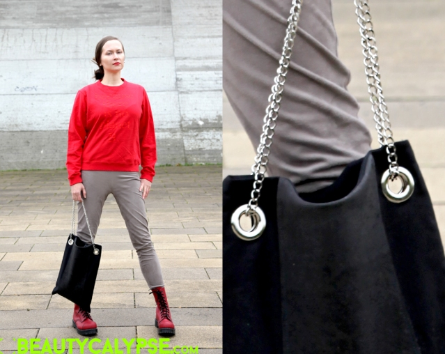 Eco-ethical, slow fashion outfit wearing: Wolford Velours in taupe, Ecoalf sweater, Vegetarian Shoes combat boots red, Myrka Studios cork shoulder bag, Tiffany beads studs; Close-up: Myrka Studio bag