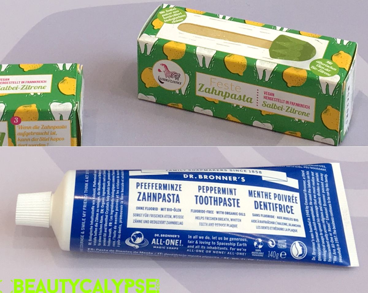 Lamazuna vegan toothpaste on a stick, Dr. Bronner's Peppermint Toothpaste