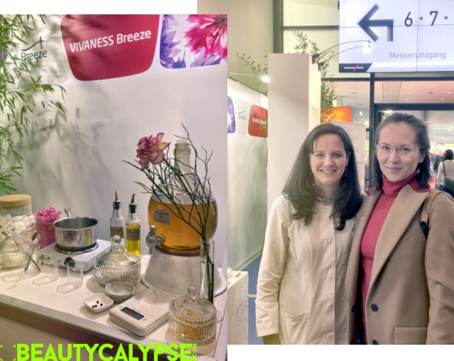 Coscoon stand at Vivaness Breeze; Coscoon co-founder Aino (on the left) with Nath/ BEAUTYCALYPSE