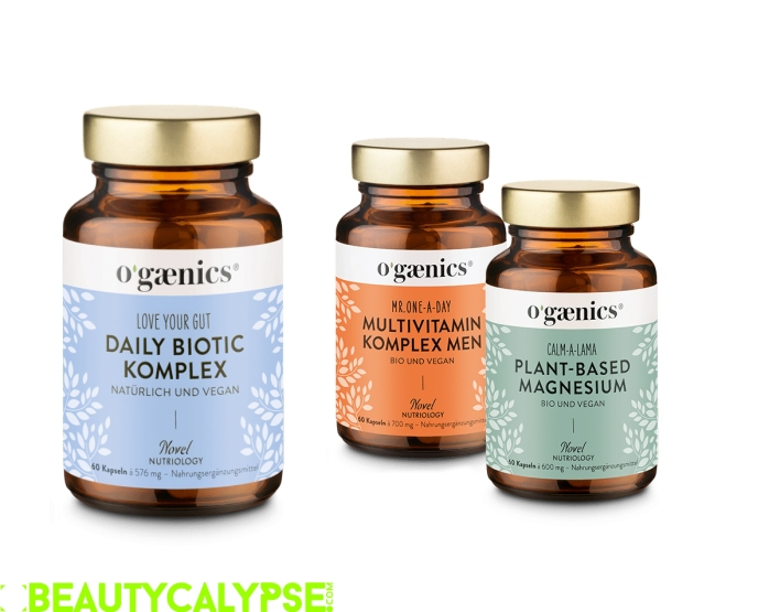 Ogaenics' latest supplements: LOVE YOUR GUT – a daily biotic complex, MR. ONE A DAY – like Mrs. One A Day, but sans iron. Also great for menopausal women, CALM-A-LAMA – 100% natural and plant-based magnesium