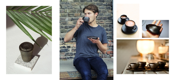 """Kaffeeform founder Julian Lechner surrounded by his products: on the left, the """"Weducer"""", a reusable coffee cup for coffee on the go; espresso and cappuccino cups, and a material demonstration."""