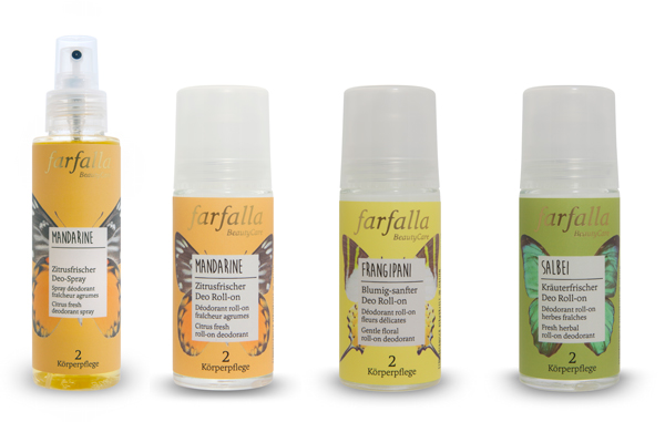 Farfalla new NaTure certified deodorant range: spray and roll-on, Mandarine, Frangipani, Sage