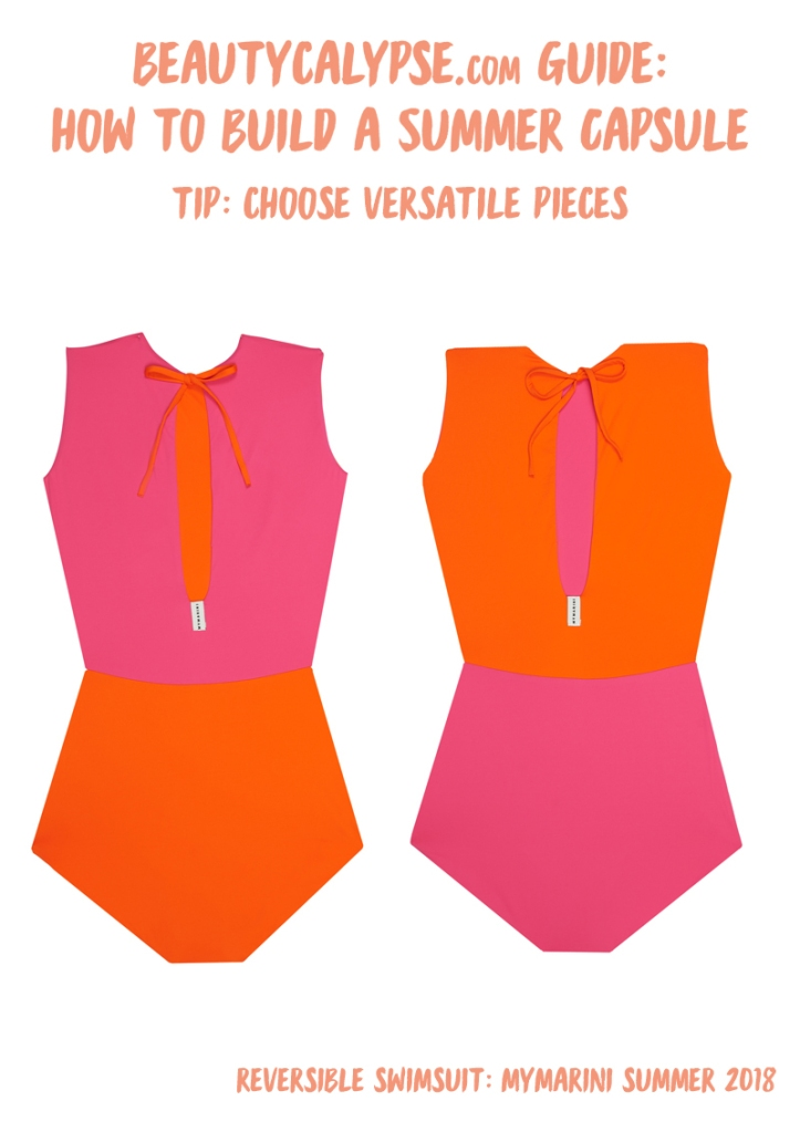"Versatile reversible swimsuits you can wear as tops: Mymarini ""Outfit"" Tangerine and Pink"