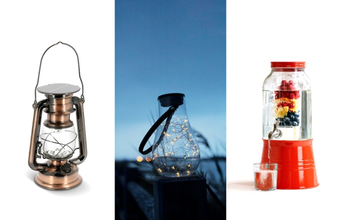 Nature et découvertes solar lamps and retro beverage dispenser