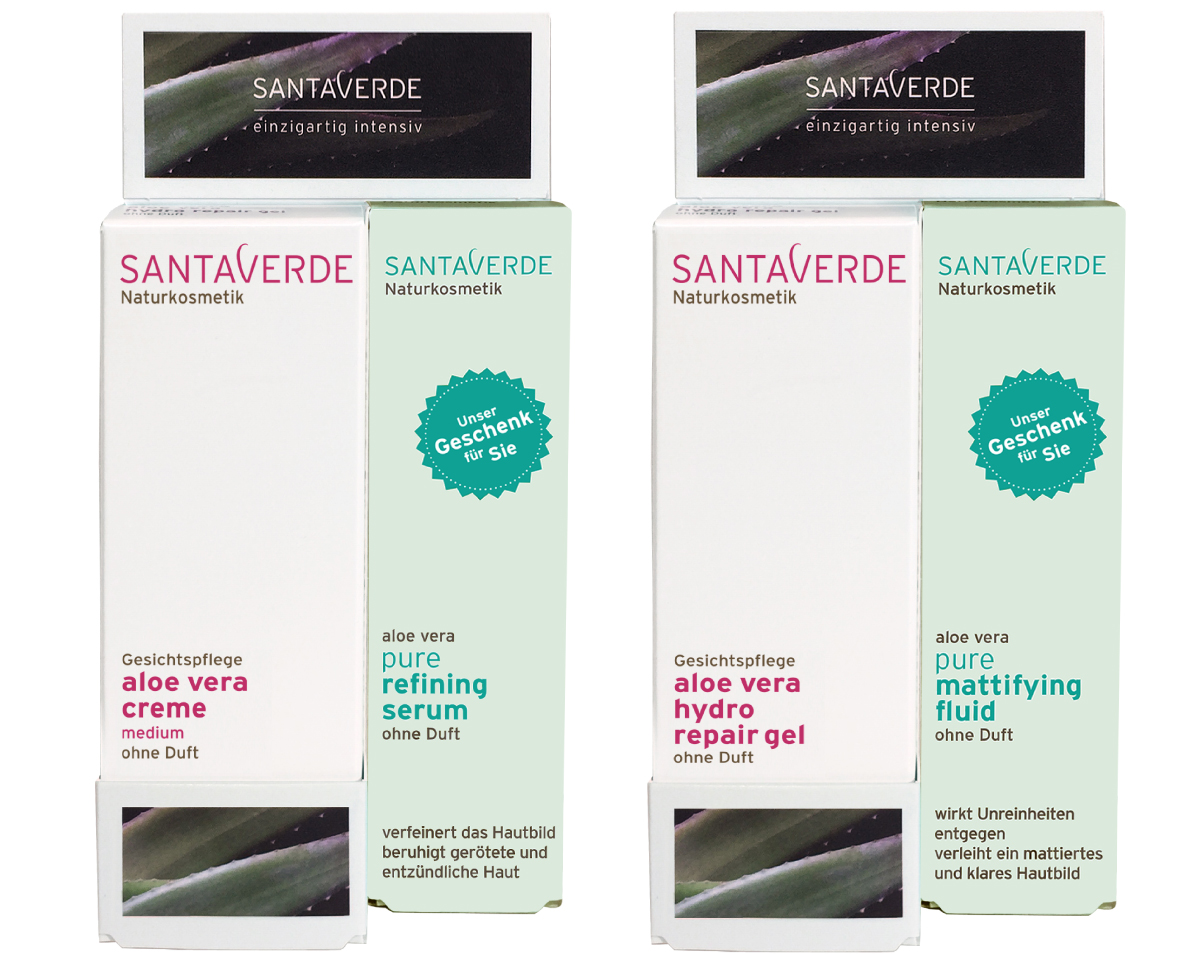 New and limited-time only: Santaverde Pure Serum or Fluid as gift with purchase