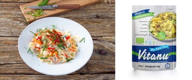 "Vitanu konjac noodles dish and ""rice"" packaging, gluten-free and vegan-friendly"