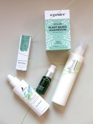 Hydrating facial toner 57, Sativa; Organic Purifying Facial Cleanser, Dr. Alkaitis; Refresh body milk, Ringana; Calm-a-Rama, Ogaenics
