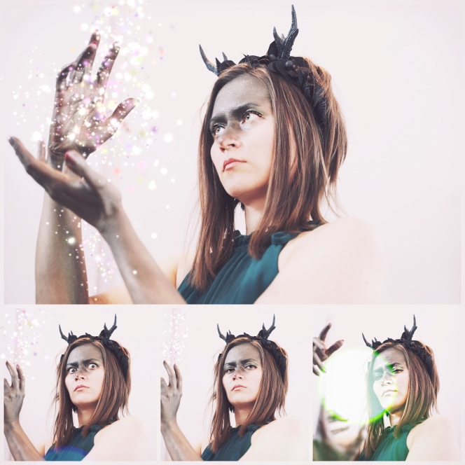 Sustainable Halloween cosplay: female pagan deity Elen of the Ways, the antlered goddess, aka the Green lady, Elen of the Hosts
