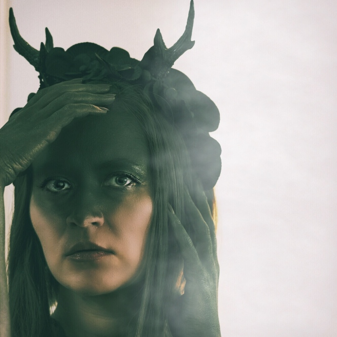 Sustainable Halloween costume: female pagan deity Elen of the Ways, the antlered goddess, aka the Green lady, Elen of the Hosts