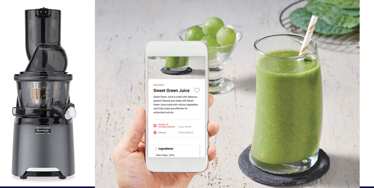 Kuvings® HealthFriend Slow Juicer and app, available via Keimling