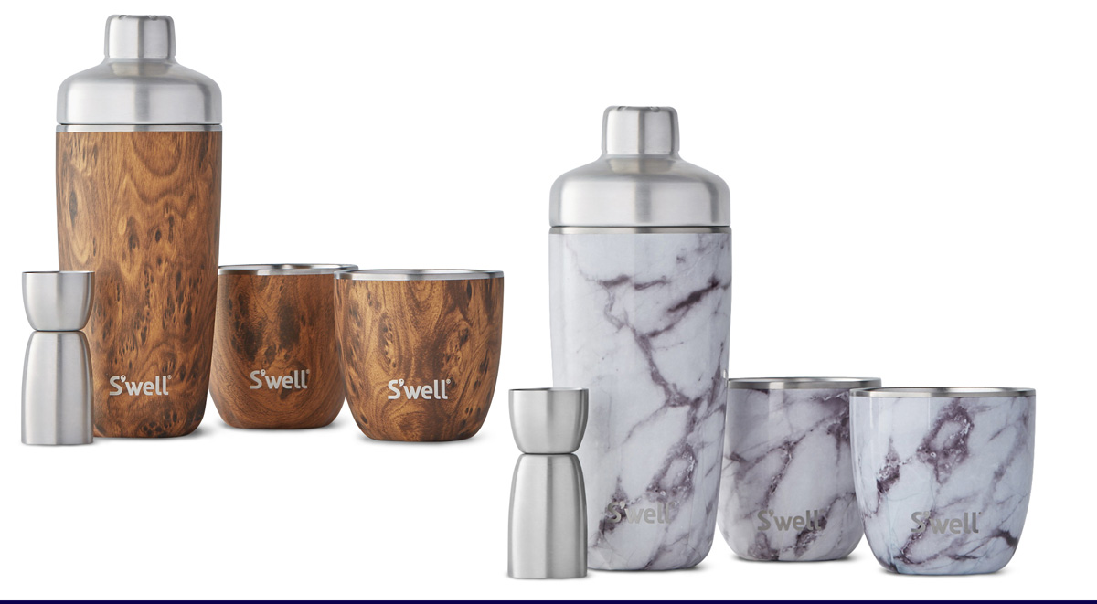 S'well Cocktail Set (jigger, shaker, two cocktail glasses; all stainless steel) in Teakwood and White Marble