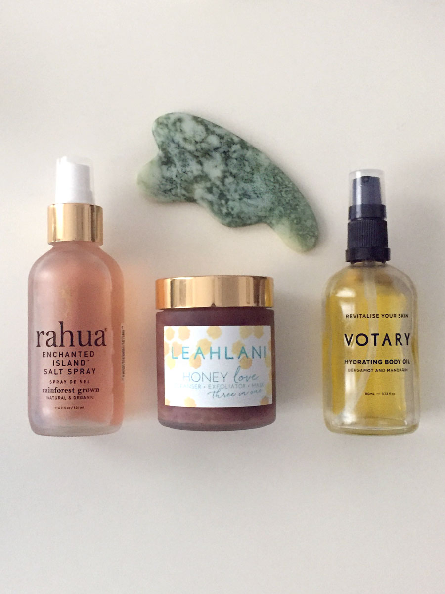 Sarah's green beauty favourites: Gua sha by Lois Lee, Rahua Enchanted Island Salt Spray, Leahlani Honey Love, Votary Hydrating Body Oil. Photography: Sarah Khurshid