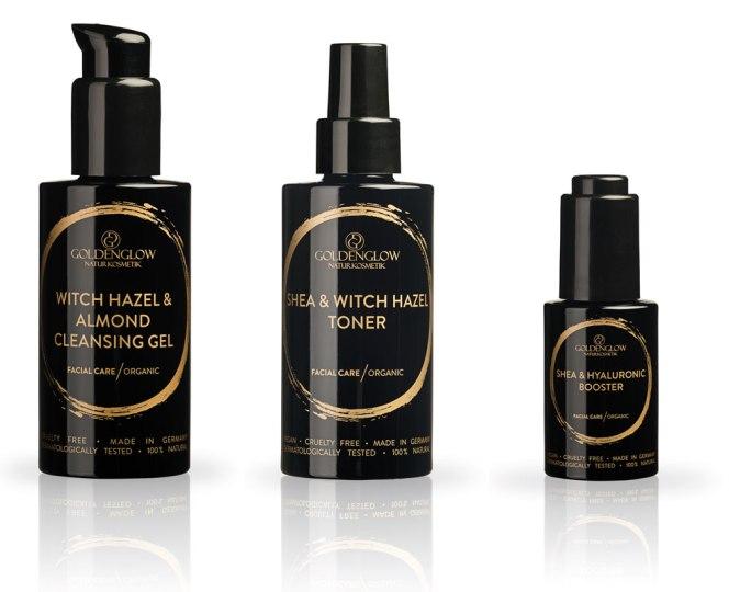 New: Goldenglow Witch Hazel & Almond Cleansing Gel, Shea & Witch Hazel Toner, Shea & Hyaluronic Booster