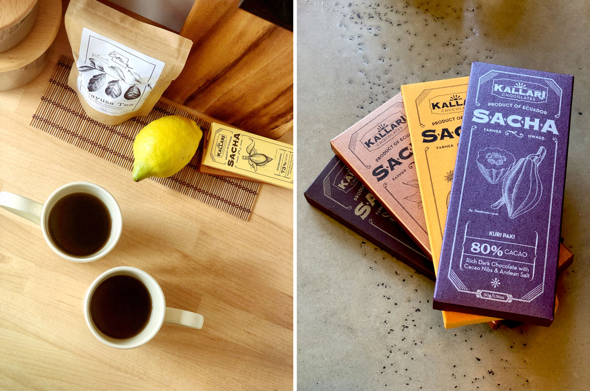 From the rainforest to your table! On the left Etza Guayusa tea (certified organic); on the right Kallari chocolates — gluten-free, dairy-free, vegan friendly, lecithin-free goodness